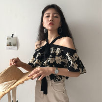 Lace / Chiffon Summer of 2019 Picture color XL,L,M,XXL elbow sleeve commute Socket easy Regular One word collar other routine 18-24 years old The flower contains the posture printing