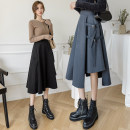 skirt Winter 2020 S,M,L,XL Brown, black, blue grey, sling longuette commute High waist Irregular Solid color Type A Wool Lace up, bandage, open line decoration Korean version