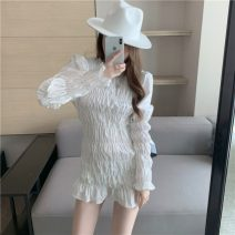Lace / Chiffon Spring 2021 White blue S M Long sleeves commute Socket singleton  Self cultivation Medium length Crew neck Solid color puff sleeve 18-24 years old ikllo Korean version 96% and above Other 100% polyester fiber