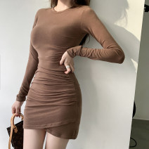 Dress Spring 2021 Black Brown S M L XL Short skirt singleton  Long sleeves commute V-neck High waist Solid color Socket Irregular skirt routine Others 18-24 years old Type A ikllo Retro Fold splicing asymmetry More than 95% other other Other 100% Exclusive payment of tmall
