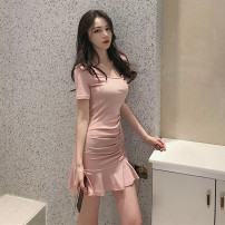 Dress Summer of 2019 Black Pink S M L XL Short skirt singleton  Short sleeve commute Crew neck High waist Solid color Socket Ruffle Skirt other Breast wrapping 18-24 years old Type A ikllo Retro Lace up strap More than 95% other other Other 100% Pure e-commerce (online only)