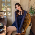 Lace / Chiffon Spring 2021 Suspender cardigan M L XL Long sleeves commute Cardigan Two piece set Self cultivation Medium length square neck Solid color routine 18-24 years old ikllo 1005# Ruffle and bright silk stitching Retro 96% and above Other 100% Exclusive payment of tmall cotton