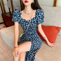 Dress Spring 2021 Little blue daisy S M L Miniskirt singleton  Short sleeve commute One word collar High waist Decor zipper A-line skirt puff sleeve Others 18-24 years old Type A ikllo Retro Pleated print More than 95% Chiffon other Other 100% Pure e-commerce (online only)