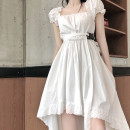 Dress Summer 2020 White dress S M L XL Mid length dress singleton  Short sleeve commute square neck High waist Solid color Socket Irregular skirt puff sleeve Others 18-24 years old Type A ikllo Korean version Asymmetric folding and splicing of ruffles UYPB53300 More than 95% other other Other 100%