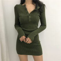 Dress Winter 2020 Black button dress green button dress S M L Short skirt singleton  Long sleeves commute Crew neck High waist Solid color Socket A-line skirt routine Others 18-24 years old Type A ikllo Retro Asymmetric button with stitching thread More than 95% knitting other Other 100%