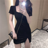 Dress Summer 2021 black S M Short skirt singleton  Short sleeve commute square neck High waist Solid color Socket A-line skirt routine Others 18-24 years old Type A ikllo Retro More than 95% other other Other 100% Pure e-commerce (online only)