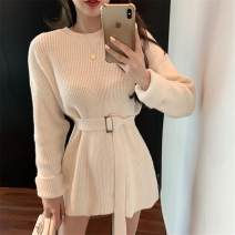 Dress Winter 2020 Black Beige S M L XL Short skirt singleton  Long sleeves commute Crew neck High waist Solid color Socket other routine Others 18-24 years old Type A ikllo Retro Asymmetric button with stitching thread 71% (inclusive) - 80% (inclusive) other polyester fiber Polyester 80% other 20%