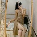 Dress Spring 2021 khaki S M L Mid length dress singleton  Long sleeves commute Crew neck High waist Solid color Socket A-line skirt routine Others 18-24 years old Type A ikllo Retro Stitching asymmetric lace More than 95% Lace other Other 100% Exclusive payment of tmall
