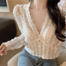 shirt White black S M L XL Autumn 2020 other 96% and above Short sleeve commute Short style (40cm < length ≤ 50cm) V-neck Socket routine Solid color 18-24 years old Self cultivation ikllo Korean version Lace asymmetric button with ruffle stitching Other 100% Exclusive payment of tmall