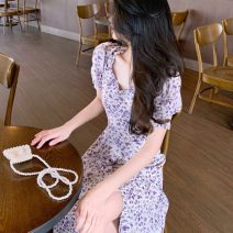 Dress Summer 2021 Oil purple S M L longuette singleton  Short sleeve commute square neck High waist Decor Socket A-line skirt puff sleeve Others 18-24 years old Type A ikllo Korean version Pleated auricular stitching printing with ruffle More than 95% Chiffon other Other 100%