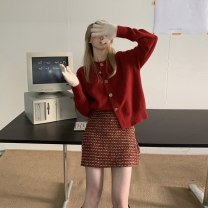 Dress Spring 2021 Red coat and skirt S M L XL Short skirt Two piece set Long sleeves commute Crew neck High waist Solid color Single breasted A-line skirt routine Others 18-24 years old Type A ikllo Korean version Asymmetric button with stitching thread More than 95% other other Other 100%
