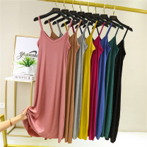 Dress Summer 2020 M,L,XL,2XL longuette singleton  Sleeveless commute V-neck Loose waist Solid color Socket A-line skirt other camisole Type A Thread, Sequin 91% (inclusive) - 95% (inclusive) brocade modal