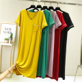 Dress Summer 2021 Black, yellow, red, purple, green The average size is 80-120 Jin, and the extra size is 120-160 Jin longuette singleton  Short sleeve commute V-neck Loose waist Solid color Socket A-line skirt routine Others Type A Korean version pocket 91% (inclusive) - 95% (inclusive) brocade