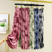 Casual pants Black, green, Burgundy, blue M,L,XL Summer 2020 Ninth pants Wide leg pants High waist commute Thin money 91% (inclusive) - 95% (inclusive) modal  Korean version cotton