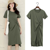 Dress Summer 2021 Black, apricot, dark grey, Navy, army green L,XL,2XL Mid length dress singleton  Short sleeve commute Crew neck High waist Solid color Socket A-line skirt routine Type A Korean version fold 91% (inclusive) - 95% (inclusive) other cotton