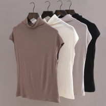 T-shirt M,L,XL Summer 2020 Sleeveless Half high collar easy Regular other commute modal  86% (inclusive) -95% (inclusive) Korean version Solid color