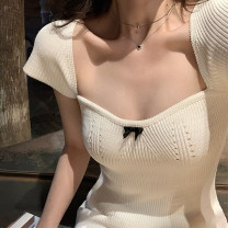 Women's large Spring 2021 White black S M L Dress singleton  commute Self cultivation moderate Socket Short sleeve Korean version square neck Glganrlin / Ganlin 18-24 years old 71% (inclusive) - 80% (inclusive) Short skirt Polyester 65% other 35% Pure e-commerce (online only) bow