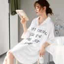 Nightdress Yierjour / Yiyue Yue sd50201 white Yue sd50210 white Yue sd50210 Baolan Yue sd50210 Dousha Yue sd50210 embroidered red M L XL XXL XXXL Simplicity three quarter sleeve pajamas Middle-skirt summer letter youth Shirt collar Polyester (polyester) printing More than 95% Iced silk Spring 2020