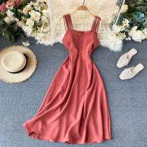 Dress Autumn of 2019 Pink, dark green, red, light blue, coffee, yellow, orange, black, emerald green Average size Middle-skirt singleton  commute square neck High waist Solid color Socket A-line skirt Others 18-24 years old Type A Other / other Button 31% (inclusive) - 50% (inclusive) other other