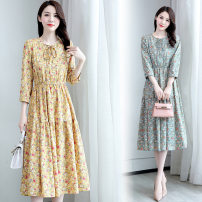 Dress Spring 2021 Yellow flower , Blue flower M,L,XL,2XL Middle-skirt singleton  Long sleeves commute Crew neck middle-waisted Decor zipper Pleated skirt routine Others Type H Korean version XXL2108 More than 95% Chiffon polyester fiber