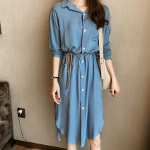 Dress Spring of 2019 White, blue, black, white M,L,XL,2XL,3XL,4XL singleton  Long sleeves commute Polo collar Loose waist Solid color Single breasted One pace skirt routine Others Other / other Korean version Button 30% and below other other