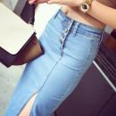 skirt Spring of 2018 S,M,L,XL Light blue, dark blue, white bottoms Mid length dress Retro Natural waist Denim skirt Denim Other / other Button