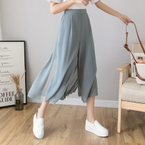 Casual pants White, black, greyish blue, flat bottoms S,M,L,XL Summer of 2019 Ninth pants Wide leg pants High waist Thin money 18-24 years old 96% and above Other / other other