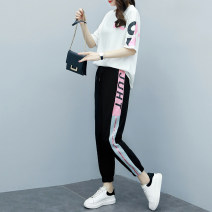 Women's large Summer 2020 Black and white Other oversize styles Two piece set commute easy moderate Socket Short sleeve letter Korean version Crew neck routine printing and dyeing routine Mu Shixi 25-29 years old pocket Other 100% Pure e-commerce (online only) Ninth pants