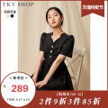 Dress Summer 2021 Black apricot black (pre sale) apricot (pre sale) 160/84A/S 165/88A/M Mid length dress singleton  Short sleeve commute V-neck High waist Solid color zipper A-line skirt other Others 25-29 years old Type A TKY SHOP lady 11E1KH02Y006 More than 95% cotton Cotton 100.00%