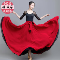 skirt Autumn 2020 XS,S,M,L,XL longuette grace High waist A-line skirt Solid color Type A 31% (inclusive) - 50% (inclusive) Chiffon Other / other polyester fiber Lace, lace