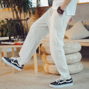 Casual pants Others Fashion City M,L,XL,2XL,3XL,4XL,5XL thin trousers Other leisure easy Micro bomb summer Large size Chinese style middle-waisted Straight cylinder Sports pants Hem at hem No iron treatment Solid color hemp