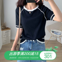 Women's large Summer 2021 Black, blue, white Large L, large XL, large XXL, large XXL T-shirt singleton  commute Straight cylinder thin Socket Short sleeve Solid color Korean version Crew neck routine Cotton, chloroprene, vinylon Three dimensional cutting routine WN0002152 Other / other