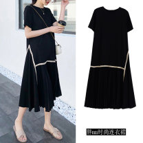 Dress Summer 2021 black longuette singleton  Short sleeve commute Crew neck Solid color Pleated skirt routine Others 25-29 years old Other / other Korean version Gauze Chiffon polyester fiber