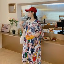 Women's large Summer 2020, summer 2021 Decors: blue, black, white, cartoon mouse, orange, pink One size fits all (suitable for 120-240 kg) Dress singleton  street easy thin Socket elbow sleeve Cartoon animation Crew neck Medium length polyester fiber printing and dyeing raglan sleeve 25-29 years old