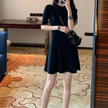 Dress Summer of 2018 Black brick, red grey S M L XL XXL 3XL Mid length dress singleton  Short sleeve commute Crew neck middle-waisted Solid color Socket A-line skirt routine Others 18-24 years old Type A Han Shizhen Korean version Lotus leaf edge AX637-4 More than 95% polyester fiber