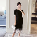Dress Other / other black Average size Korean version Short sleeve Medium length summer Crew neck Solid color Pure cotton (95% and above) WS006280