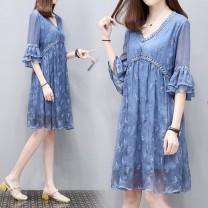 Dress Other / other blue M,L,XL,XXL Korean version elbow sleeve routine summer V-neck other Chiffon