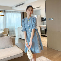 Dress Other / other Blue_ Embroidered cloth with colorful buttons Average size Korean version Short sleeve Medium length summer Crew neck Solid color Pure cotton (95% and above)