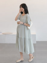 Dress Other / other Bean green_ Sandwich layer upon layer skirt, blue sky_ Sandwich layer long skirt, light yellow_ Sandwich skirt Average size Korean version Short sleeve have more cash than can be accounted for summer Crew neck Solid color Pure cotton (95% and above)