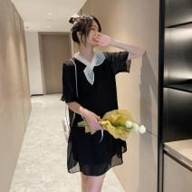 Dress Other / other Black, blue M,L,XL Short sleeve Medium length summer V-neck Solid color