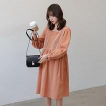 Dress Other / other Black_ White teeth, wide width, orange_ White tooth wide band Average size Korean version Long sleeves Medium length spring square neck Solid color cotton WU002463