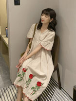 Dress Other / other Apricot_ Rose pendulum with thorns M,L,XL,XXL Korean version Short sleeve have more cash than can be accounted for summer V-neck Decor Cotton and hemp