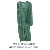 Dress Summer 2020 green S,M,L,XL Mid length dress singleton  Nine point sleeve commute V-neck High waist Broken flowers Single breasted One pace skirt routine Others 18-24 years old Type H Korean version Button 31% (inclusive) - 50% (inclusive) Chiffon