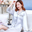 Nightdress Donico M L XL XXL Simplicity Long sleeves pajamas Middle-skirt summer letter youth Small lapel Polyester (polyester) Embroidery More than 95% silk 200g and below Summer of 2019 Polyester 100% Pure e-commerce (online only)