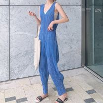 Casual pants wathet Average size Summer 2020 trousers Jumpsuit High waist commute routine 25-29 years old other fold