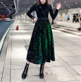 skirt Autumn of 2019 Average size Emerald green, black, silver Mid length dress Versatile High waist A-line skirt Solid color Type A 18-24 years old 51% (inclusive) - 70% (inclusive) other Other / other other Sequins