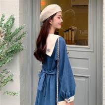Women's large Winter 2016, summer 2016 blue 3XL [160-180 Jin], m [80-100 Jin], l [100-120 Jin], 4XL [180-200 Jin], 2XL [140-160 Jin], XL [120-140 Jin] Dress singleton  Sweet easy thick Socket Long sleeves Solid color Admiral Three dimensional cutting puff sleeve Other / other Bandage Medium length