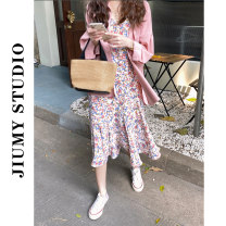 Dress Summer 2021 Pink shirt, floral sling, shirt + sling Average size longuette Two piece set Sleeveless Sweet V-neck High waist Decor Socket A-line skirt routine Others 18-24 years old Type H 31% (inclusive) - 50% (inclusive) other polyester fiber Countryside