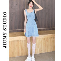Women's large Summer 2021 Picture color Large L, s, M Dress singleton  Sweet Socket Sleeveless One word collar Medium length 18-24 years old hole 81% (inclusive) - 90% (inclusive) Middle-skirt