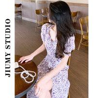Dress Summer 2021 Oil purple S,M,L Miniskirt singleton  Short sleeve commute square neck High waist Decor Socket A-line skirt puff sleeve 18-24 years old Type A Korean version 71% (inclusive) - 80% (inclusive)